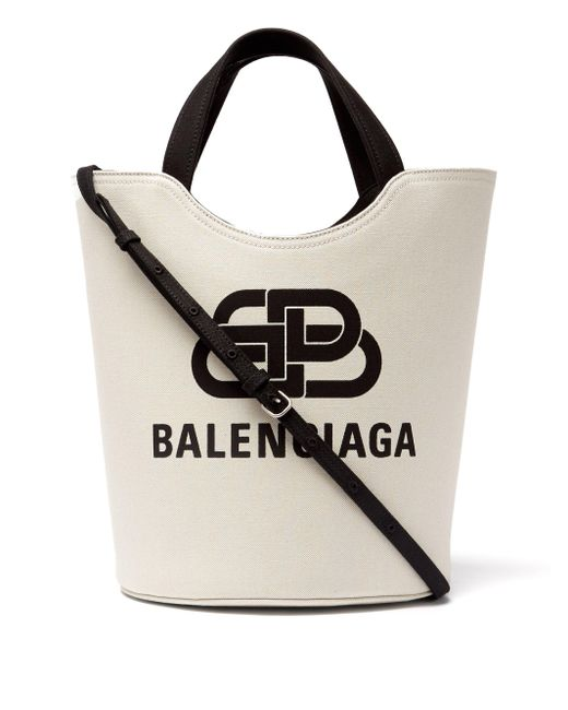 Balenciaga Multicolor Wave Logo-jacquard Cotton-canvas Tote Bag