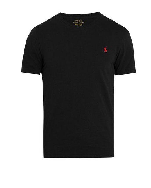 Polo Ralph Lauren - Black Logo-embroidery Cotton-jersey T-shirt for Men - Lyst