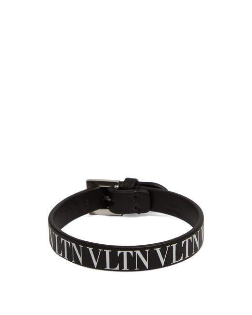 Bracelet en cuir Vltn Valentino pour homme en coloris Black