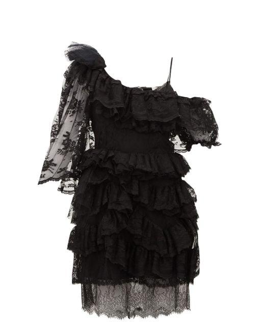 Preen By Thornton Bregazzi Valerie ワンショルダー ティアードレースドレス Black