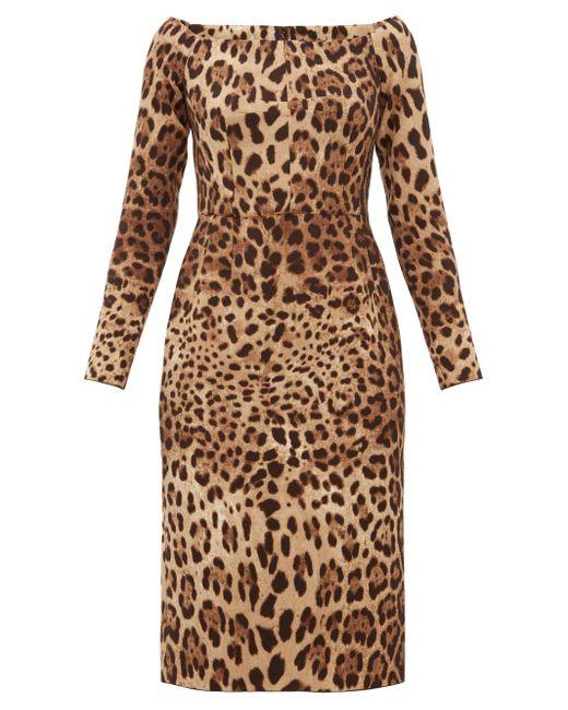 Dolce & Gabbana レオパード ウールクレープ ドレス Multicolor