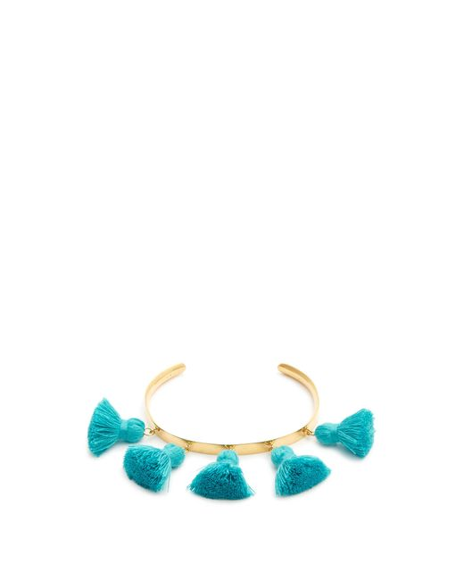 Marte Frisnes | Blue Raquel Gold-plated Tassel Cuff | Lyst