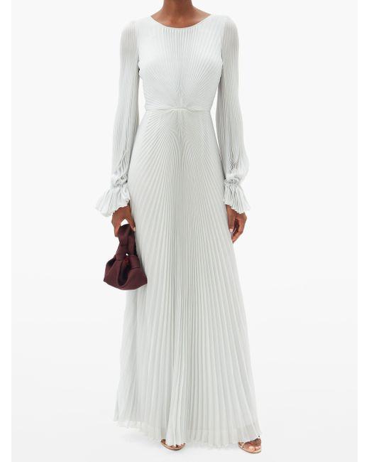 Luisa Beccaria バルーンスリーブ プリーツクレープドレス Multicolor