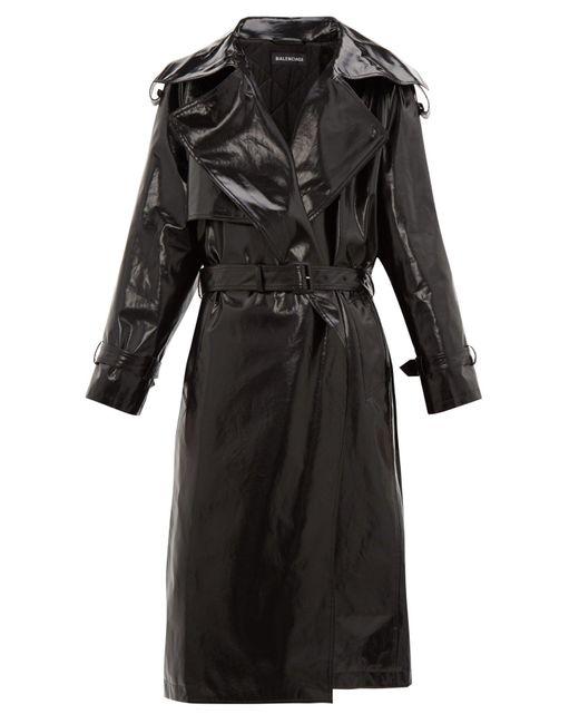 Balenciaga Black Exaggerated-lapel Coated-cotton Trench Coat for men