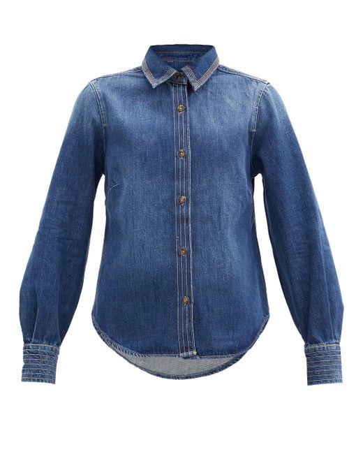 FRAME トラプント トップステッチ デニムシャツ Blue