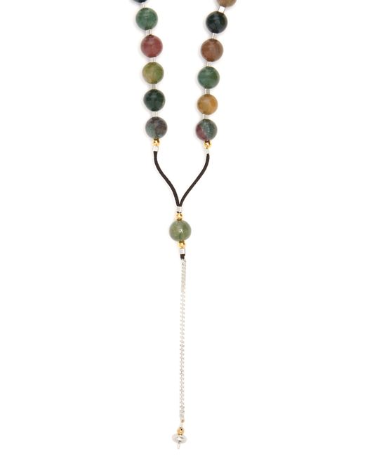 Black Dakini - Green Collier en agate mousse et corde for Men - Lyst