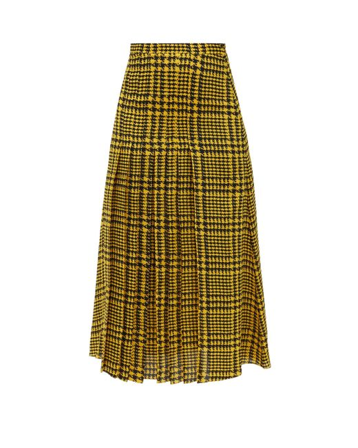 Alessandra Rich ハウンドトゥース プリーツシルクスカート Multicolor
