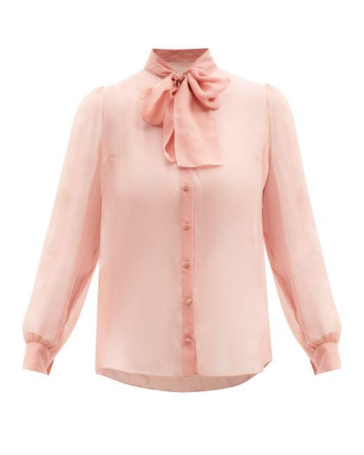 Dolce & Gabbana ボウタイ シルクシフォンブラウス Pink