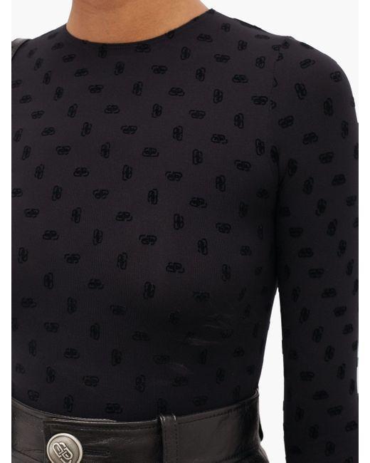 Balenciaga フロックロゴ ストレッチジャージートップ Black