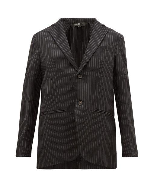 Edward Crutchley チョークストライプ ウールツイル シングルジャケット Black