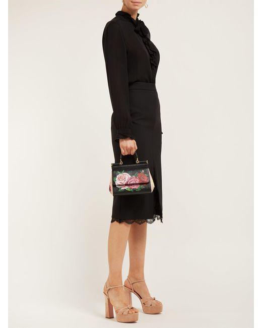 7666986eaebf ... Dolce   Gabbana - Black Sicily Small Rose Print Dauphine Leather Bag ...