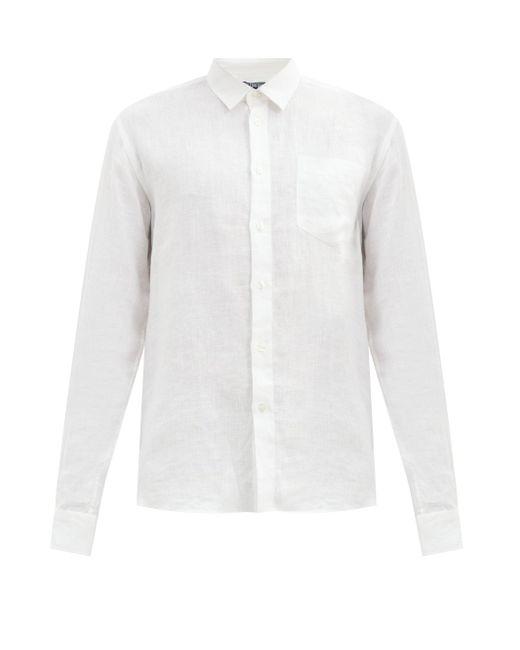 メンズ Vilebrequin ボタンダウン リネンシャツ White