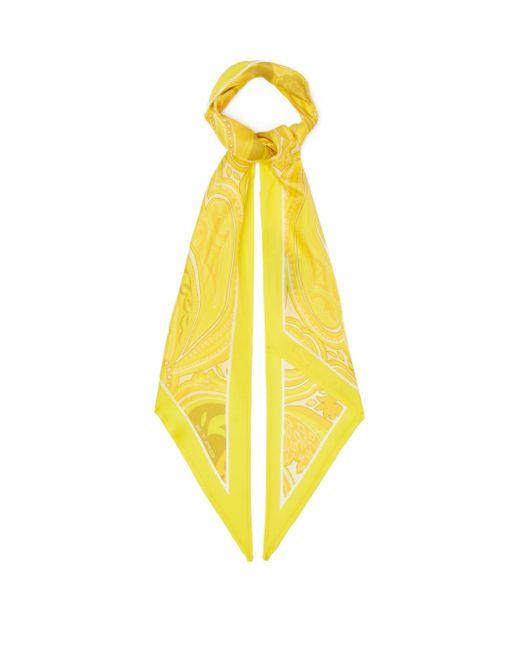 Etro アンティーブ ペイズリー シルクツイルスカーフ Yellow