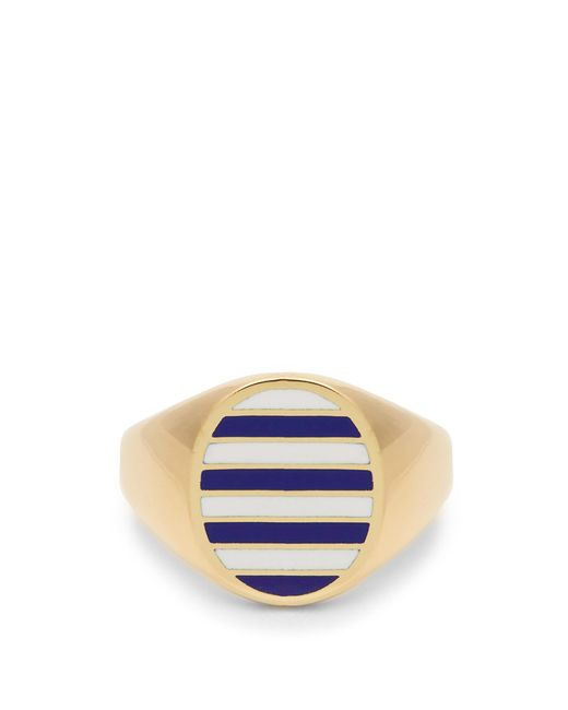 Jessica Biales | Blue Enamel & Yellow-gold Ring for Men | Lyst