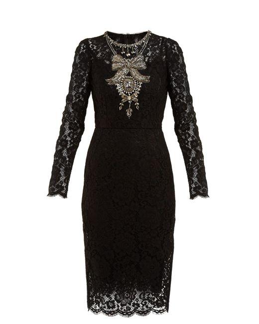 Robe en guipure à ornements cristaux Dolce & Gabbana en coloris Black