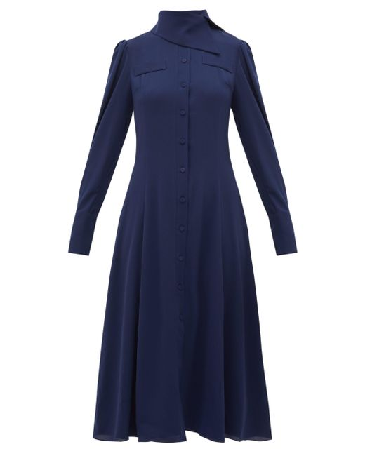 Emilia Wickstead ルシール ジョーゼットシャツドレス Blue