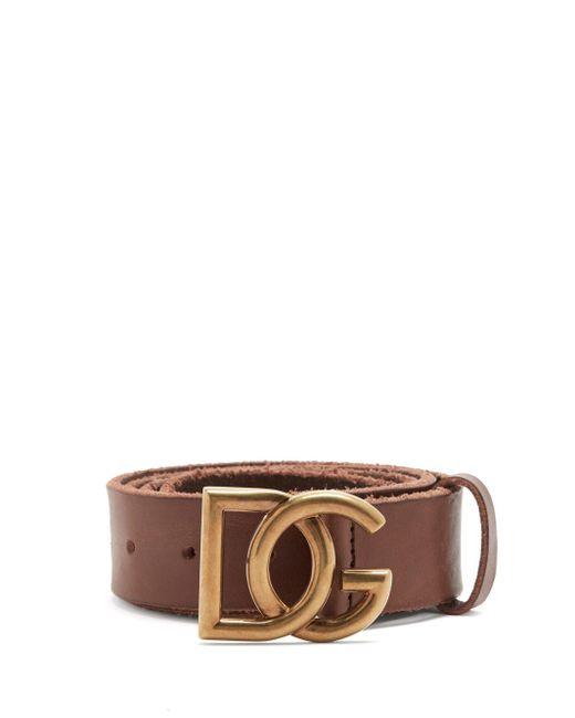 メンズ Dolce & Gabbana Dgバックル レザーベルト Brown