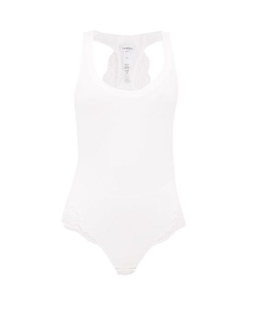 La Perla White Souple Lace-trimmed Jersey Bodysuit