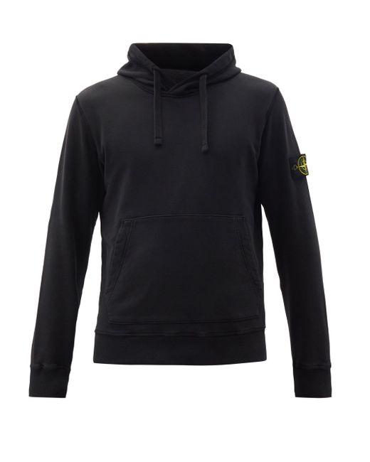 Sweat-shirt à capuche en coton et empiècement logo Stone Island pour homme en coloris Black