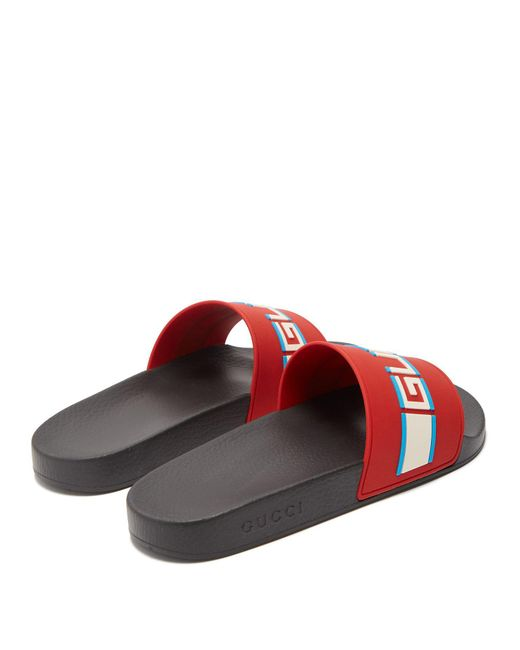 9a8ee625fd61 Lyst - Gucci Stripe Rubber Slide Sandals in Red for Men - Save 27%