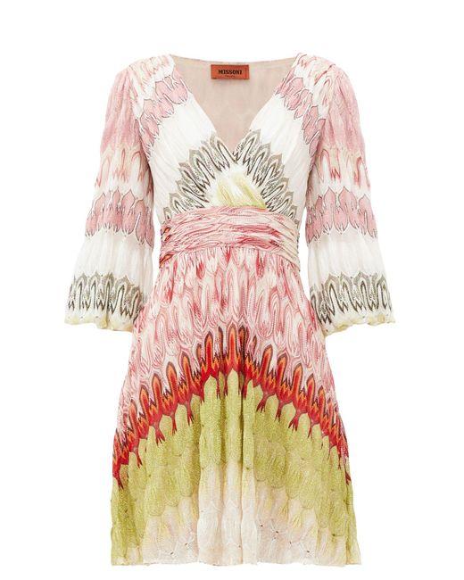 Missoni Vネック バルーンスリーブ ラップフロントドレス Multicolor