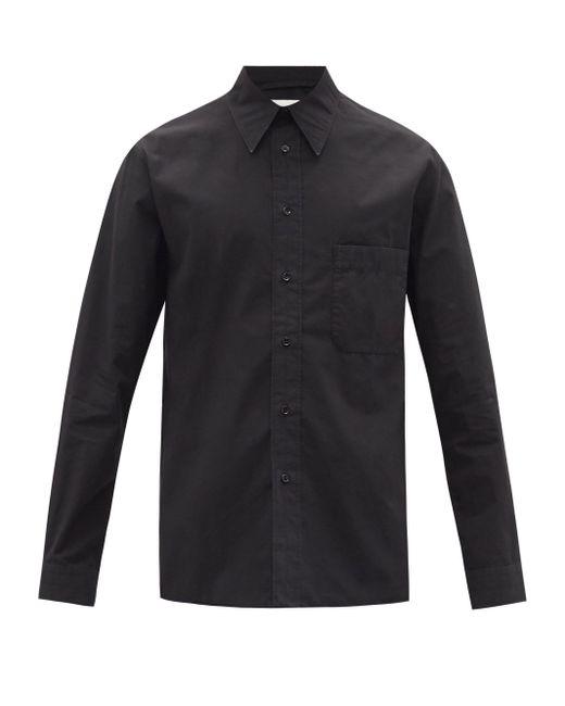 メンズ Lemaire パッチポケット コットンポプリンシャツ Black