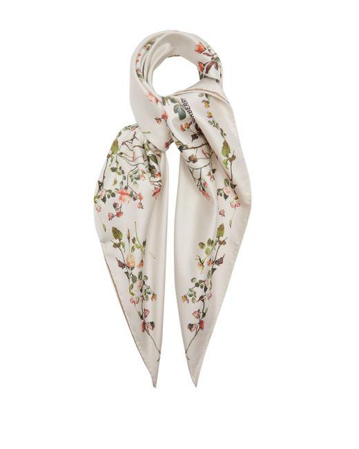 Burberry フローラル シルクツイルスカーフ Multicolor