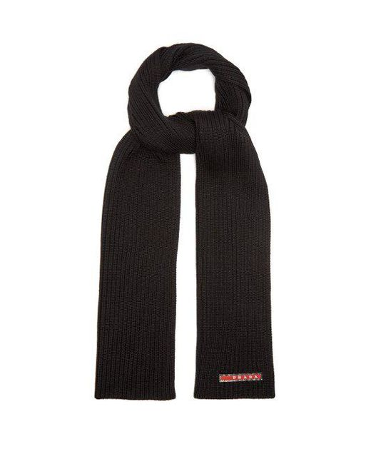 c60c07bc024 ... closeout prada logo print cashmere scarf mens black for men lyst 58fb6  d95f0