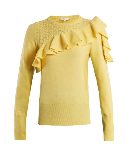 Erdem - Yellow Dharma Ruffle Trimmed Knit Sweater - Lyst