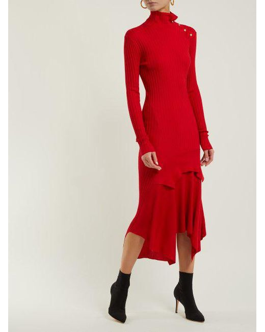 Handkerchief-hem ribbed-knit dress Stella McCartney Sale h4vW3l7M
