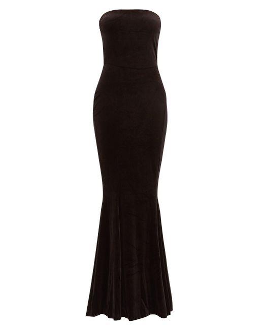 Norma Kamali ストラップレス フィッシュテール ベルベットドレス Black