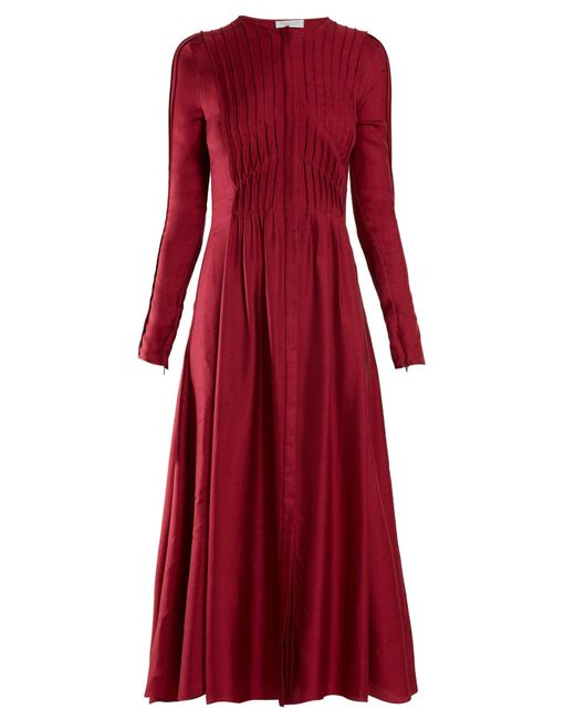 Gabriela Hearst Janis プリーツ シャンタンミディドレス Red