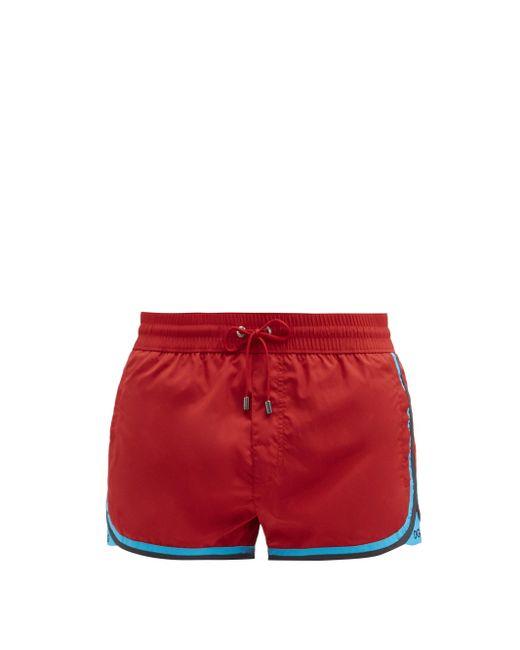 メンズ Dolce & Gabbana ストライプトリム スイムショーツ Red