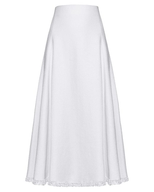 Adam Lippes - White Frayed-hem Linen-blend A-line Skirt - Lyst