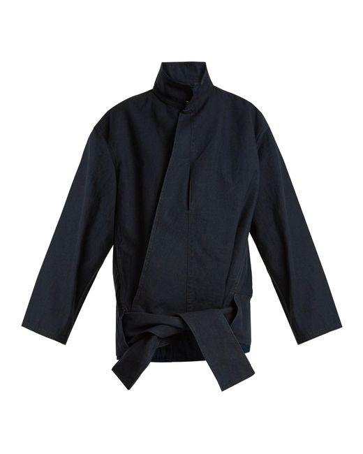 Lemaire | Blue High-neck Hemline-tie Denim Jacket | Lyst