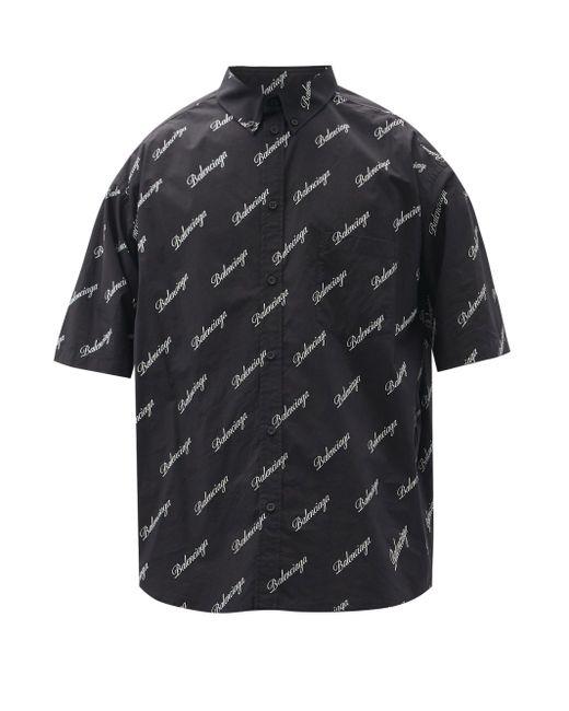 メンズ Balenciaga ショートスリーブ コットンポプリンシャツ Black