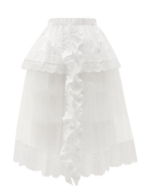 Simone Rocha ラッフル コットンポプリン&チュールスカート White