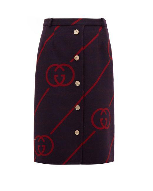 Gucci GGジャカード ウールブレンドスカート Multicolor