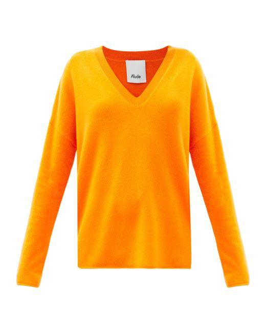 Allude Vネック カシミアセーター Orange