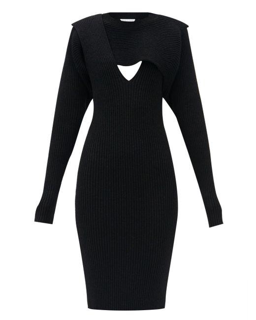 Bottega Veneta カットアウト リブニットドレス Black