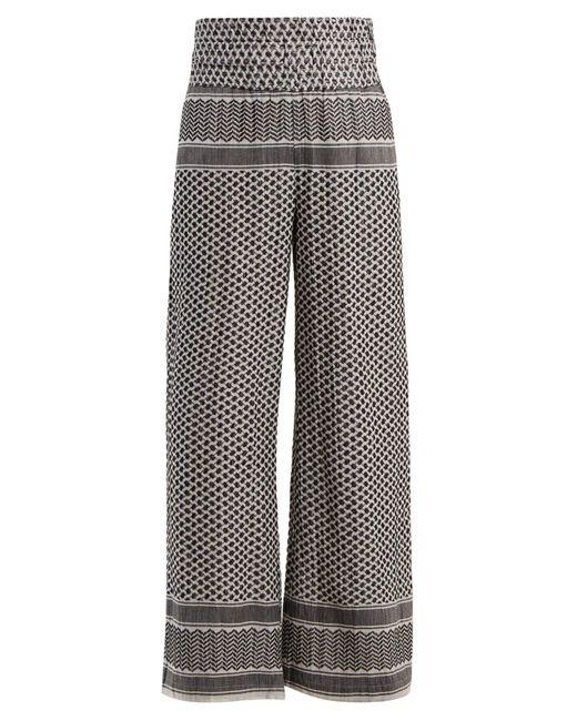 Cecilie Copenhagen Black Wide Leg Scarf Jacquard Cotton Trousers