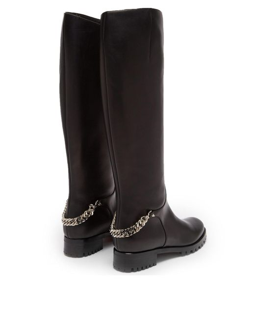 promo code 66744 fe180 Women's Black Croche Cate Knee High Leather Riding Boots