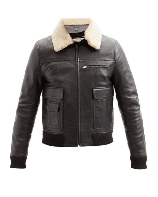 メンズ Saint Laurent シアリングカラー レザージャケット Black