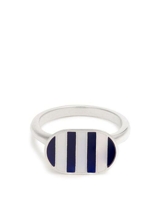 Jessica Biales - Blue Enamel & Sterling-silver Ring - Lyst