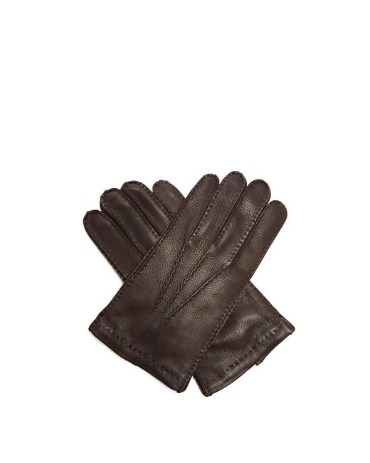 Prada - Brown Topstitched Leather Gloves for Men - Lyst