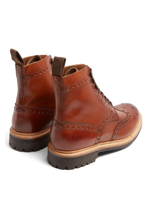 8331bcee106 Men's Brown Fred Leather Brogue Boots
