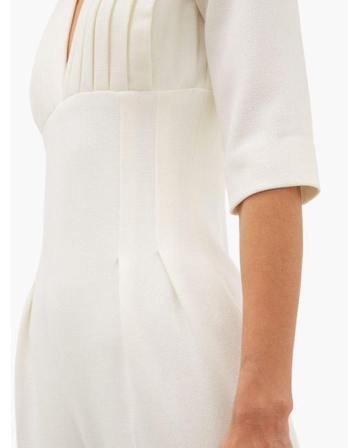 Emilia Wickstead Bella ウールクレープ プリーツジャンプスーツ White