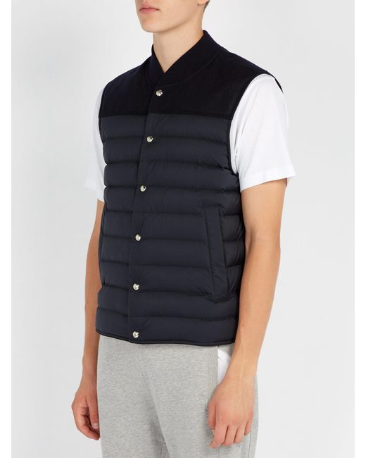 4dc66c6fc Men's Blue Quilted Down Nylon And Wool Gilet