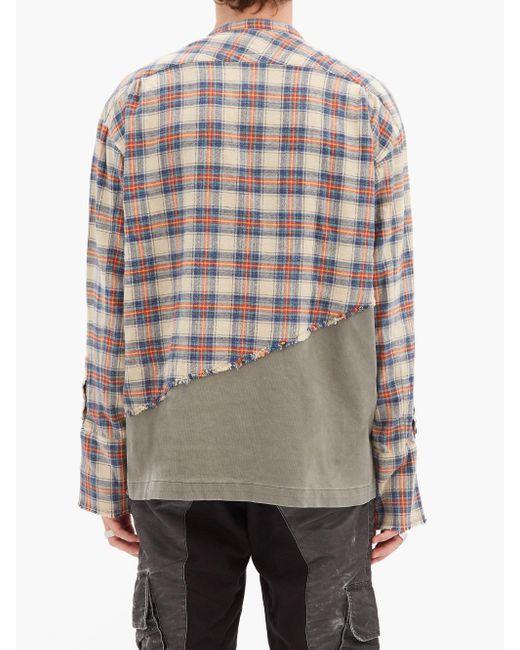 メンズ Greg Lauren スタジオ チェック コットンブレンドシャツ Multicolor