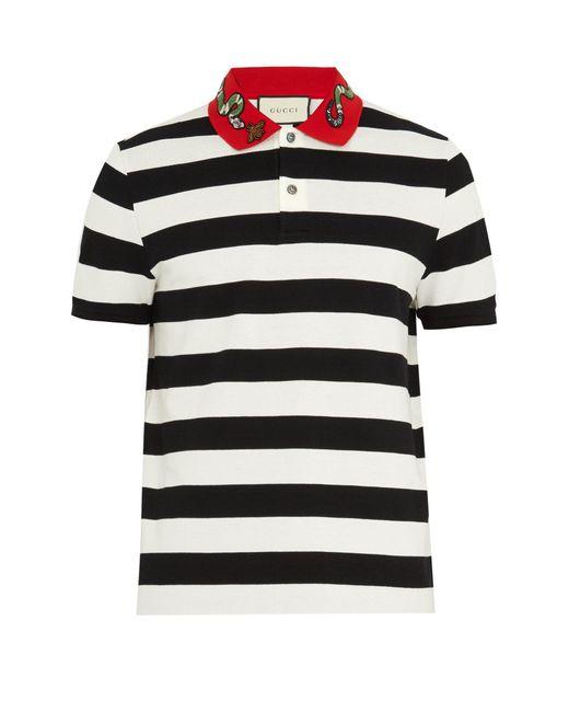 Gucci | Black Snake-appliqué Striped Cotton Polo Shirt for Men | Lyst
